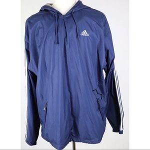 Adidas Nylon Windbreaker Hoodie Jacket Blue XL